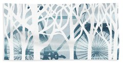 Blue Bicycle White Forest Silhouette Bath Towel