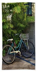 Blue Bike-  By Linda Woods Bath Towel