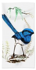 Hand Towel featuring the photograph Blue Bird 001 by Kevin Chippindall