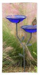 Blue Bird Bath Hand Towel by Rosalie Scanlon