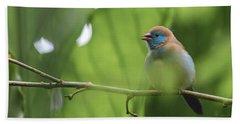 Blue Bird Chirping Hand Towel