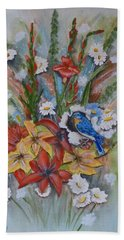 Blue Bird Eats Thru The Painting Hand Towel by Kelly Mills