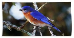 Blue Bird Bath Towel by Lamarre Labadie