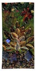 Blue Bird Singing In An Autumn Tree Bath Towel by Donna Blackhall
