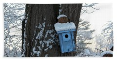 Blue Birdhouse Hand Towel