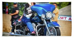 Blue Bling Rider Hand Towel