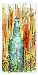 Hand Towel featuring the painting Blue Bottle by Cathie Richardson