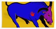 Blue Bull Bath Towel by Hans Magden