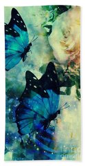 Blue Butterfies Bath Towel by Maria Urso