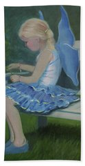 Blue Butterfly Girl Hand Towel