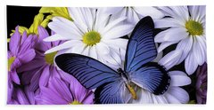 Blue Butterfly On Mixed Mums Bath Towel