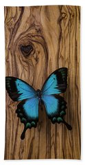 Blue Butterfly On Wood Grain Bath Towel