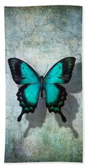 Blue Butterfly Resting Hand Towel by Garry Gay