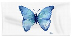 Blue Butterfly Watercolor Bath Towel