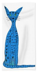 Blue Cat Hand Towel