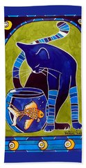 Hand Towel featuring the painting Blue Cat With Goldfish by Dora Hathazi Mendes