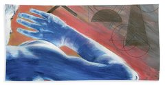 Bath Towel featuring the painting Blue Celestial  by Rene Capone