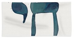 Blue Chai- Hebrew Art By Linda Woods Bath Towel