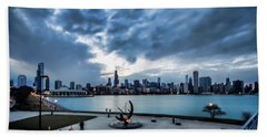 Blue Clouds And Chicago Skyline Hand Towel