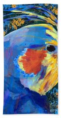 Bath Towel featuring the painting Blue Cockatiel by Donald J Ryker III