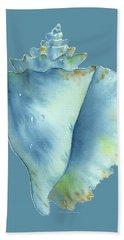 Blue Conch Shell Bath Towel
