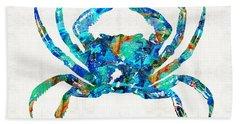 Blue Crab Art By Sharon Cummings Bath Towel