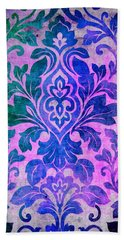 Blue Damask Pattern Hand Towel