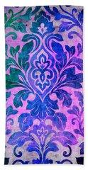 Blue Damask Pattern Bath Towel