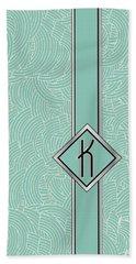 1920s Blue Deco Jazz Swing Monogram ...letter K Bath Towel
