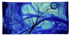Blue Depth Abstract Original Acrylic Landscape Moon Painting By Megan Duncanson Hand Towel