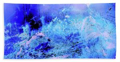 Blue Digital Artwork With Dots And Stripes And Sandstone Finish Bath Towel