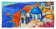 Blue Domes In Oia Santorini Greece Original Impasto Palette Knife Oil Painting By Ana Maria Edulescu Bath Towel