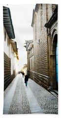 Blue Door In Cusco Hand Towel by Darcy Michaelchuk