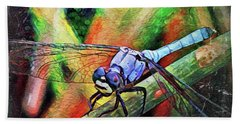 Bath Towel featuring the painting Blue Dragonfly by David Mckinney