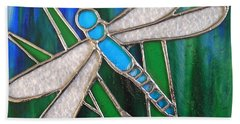 Blue Dragonfly On Reeds With Bluey Green Background Bath Towel