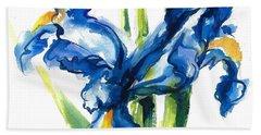 Blue Dutch Iris Flower Painting Bath Towel