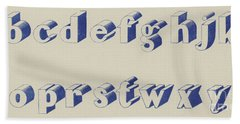 Blue Egyptian Font Bath Towel