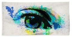 Blue Eye Watercolor Hand Towel