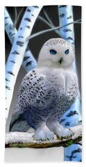Blue-eyed Snow Owl Hand Towel by Glenn Holbrook