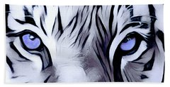 Blue Eyed Tiger Bath Towel