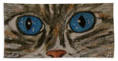 Hand Towel featuring the painting Blue Eyed Tiger Cat by Kathy Marrs Chandler