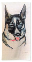 Bath Towel featuring the painting Blue Eyes by Stacy C Bottoms