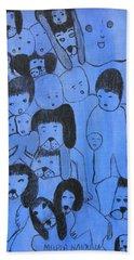 Blue Faces Hand Towel