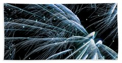 Hand Towel featuring the photograph Blue Fairy Fireworks #0710_3 by Barbara Tristan