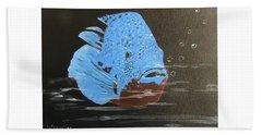 Blue Fish Hand Towel by Catherine Swerediuk