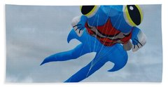 Blue Fish Kite Hand Towel