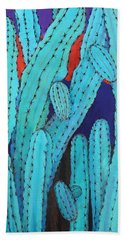 Hand Towel featuring the painting Blue Flame Cactus Acrylic by M Diane Bonaparte