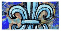 Hand Towel featuring the mixed media Blue Fleur De Lis by Genevieve Esson