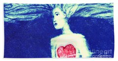 Blue Floating Heart Bath Towel