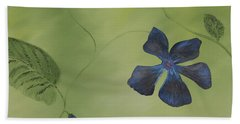 Blue Flower On A Vine Bath Towel